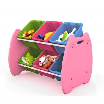 六格喵頭鷹玩具收納整理組 整理箱 置物盒 收納櫃 台灣製造