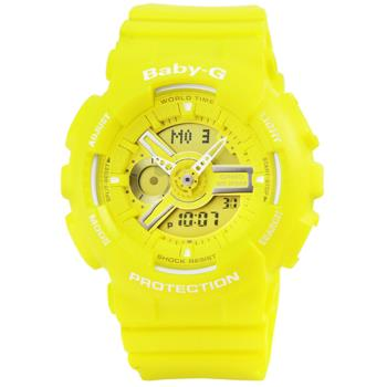 CASIO 日系卡西歐Baby-G 鬧鈴多時區雙顯錶-黃 / BA-110BC-9A
