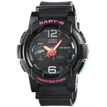 CASIO 卡西歐Baby-G 數字鬧鈴雙顯錶-黑 / BGA-180-1B