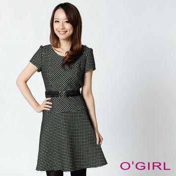 OGIRL優雅氣質短袖洋裝(黑)