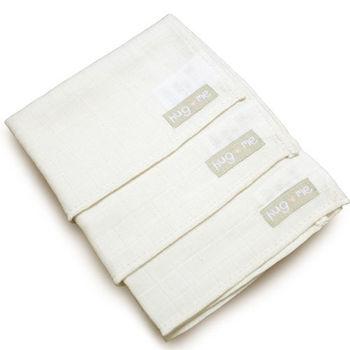 英國「Natures Purest」天然純綿-三件裝純棉紗布帕
