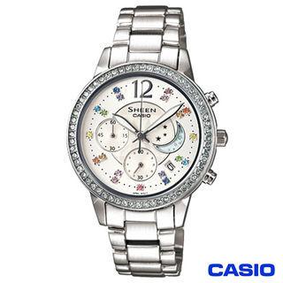 【CASIO卡西歐】月亮星辰女性俏麗腕錶 SHE-5018D-7A