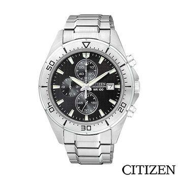 CITIZEN 星辰 日系星辰格紋三眼計時錶-黑面 AN3460-56E
