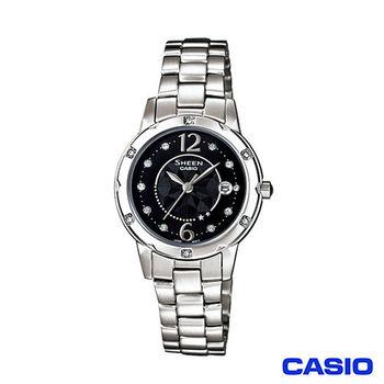 CASIO 卡西歐 SHEEN系列圓盤鑲鑽簡約石英女錶 SHE-4021D-1A