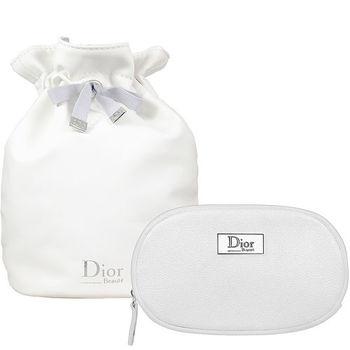 Dior 迪奧 橢圓銀星燦beaute美妝包+柔白皮質圓桶束口包