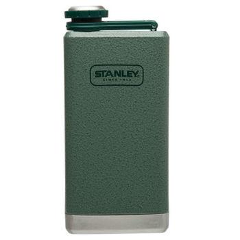 【美國Stanley】SS經典酒壺236ml(錘紋綠)-隨身酒壺水壺/不銹鋼酒壺/威士忌壺/可攜帶酒壺