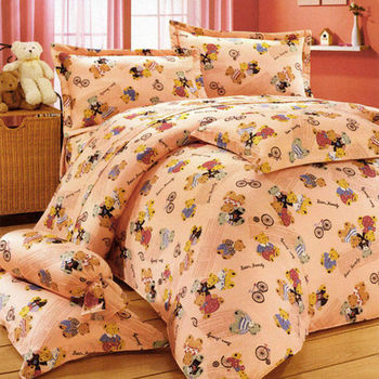 【艾莉絲-貝倫】小熊家族(6.0呎x6.2呎)六件式雙人加大(高級混紡棉)鋪棉床罩組(粉色)