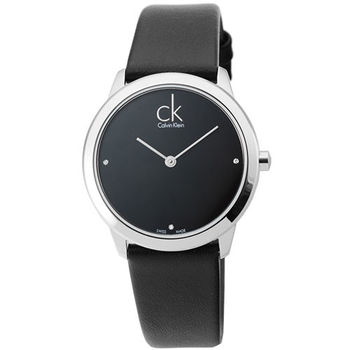 CK Calvin Klein Minimal 時尚真鑽皮帶女錶-黑 / K3M221CS
