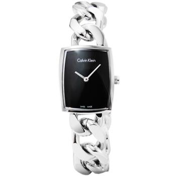 CK Calvin Klein Amaze 時尚鏤空手環錶-黑 / K5D2M121