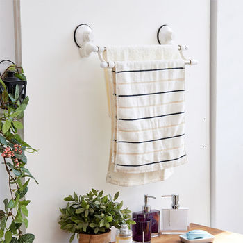 ikloo_TACO無痕吸盤系列-不鏽鋼雙桿毛巾架