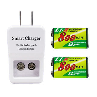 GN奇恩9V 鋰充電池充電器組(充電器+鋰電池2顆)