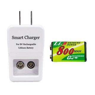 GN奇恩9V 鋰充電池充電器組(充電器+鋰電池1顆)