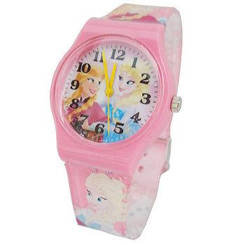 【迪士尼】FROZEN冰雪奇緣膠帶兒童錶卡通錶-艾莎安娜(粉)