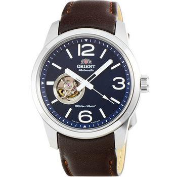 ORIENT 東方錶經典鏤空機械皮帶錶-藍 / FDB0C004D (原廠公司貨)
