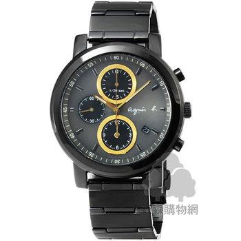 agnes b. 小B HOMME 魅力炫金三眼計時腕錶-黑 / BF8324P1