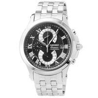 SEIKO精工Premier藍寶石水晶玻璃計時錶 ^#45 黑 ^#47 SPC067P1