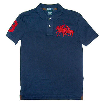 Polo by Ralph Lauren 大雙馬Logo藏藍色網眼3號選手Polo衫M(10-12歲)