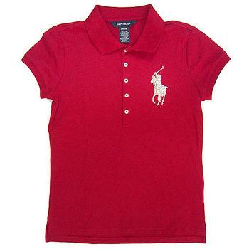 Polo by Ralph Lauren大馬亮飾Logo紅色網眼短袖Polo衫L(12/14歲)