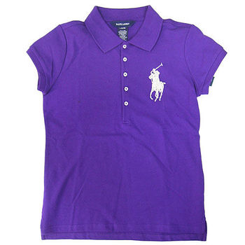 Polo by Ralph Lauren 大馬亮飾Logo紫色網眼短袖Polo衫L(小孩12/14歲)