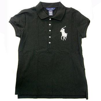 Polo by Ralph Lauren 大馬亮飾Logo黑色網眼短袖Polo衫L(小孩12/14歲)
