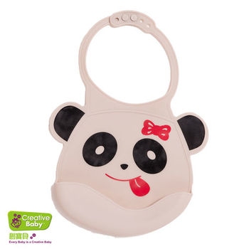 【Creative Baby】可收納式攜帶防水無毒矽膠學習圍兜-可愛熊貓(Silicone Bids)