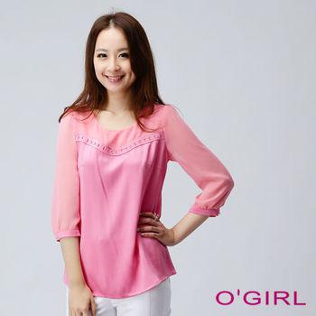 OGIRL甜美瑰麗短上衣(粉紅)