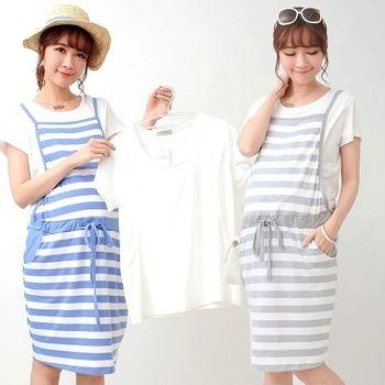 【時尚媽咪】學院風條紋背心裙+短t兩件式哺乳洋裝(共二色)