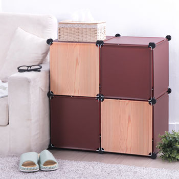 【日本牧野】巧克力原木創意4格組合櫃-有門