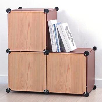【日本牧野】巧克力原木創意3格組合櫃-有門