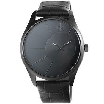 CK Calvin Klein Deluxe 凱文克萊大錶徑石英錶-IP黑 / K0S21402