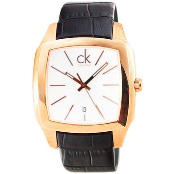 CK Calvin Klein Recess 時尚皮帶錶-金 / K2K21620