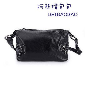 【BEIBAOBAO】輕旅行油腊真皮側揹包(百搭黑)