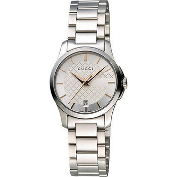 GUCCI G-Timeless 古馳菱格紋時尚腕錶-銀/27mm YA126523