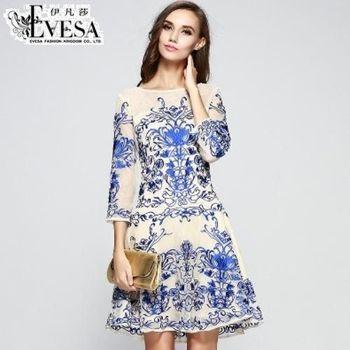 預購【EVESA伊凡莎】歐洲宮廷剌繡蕾絲洋裝