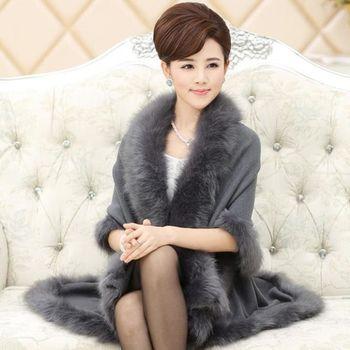 預購【伊凡莎小姐】貴氣仿狐狸毛雙層羊毛針織長披肩斗篷