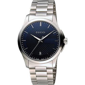 GUCCI G-Timeless 古馳菱格紋時尚腕錶-藍/38mm YA126440