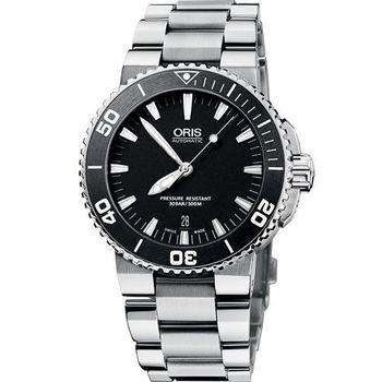 Oris Aquis 時間之海專業潛水機械腕錶-黑 73376534154MB