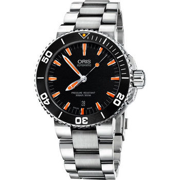 Oris Aquis 時間之海專業潛水機械腕錶-黑x橘時標/43mm  733.7653.41.59MB