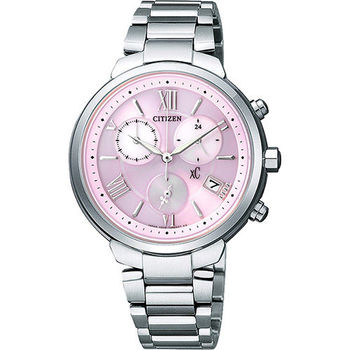 CITIZEN XC 浪漫城市鈦金屬光動能計時腕錶-粉紅x銀 FB1330-55W