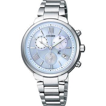 CITIZEN XC 浪漫城市鈦金屬光動能計時腕錶-藍x銀 FB1330-55L