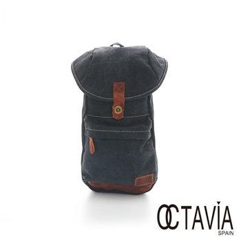 OCATAVIA 8真皮  - 袋鼠袋 牛仔單肩可變雙肩式後背包 - 跳跳黑
