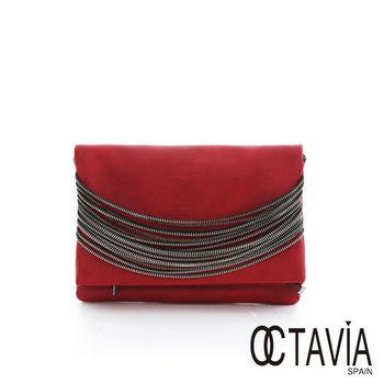 OCTAVIA 8 -  ZIPPER鏈條手拿肩背二用信封包 - ROCK紅