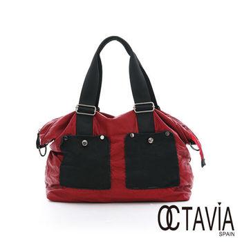 OCTAVIA 8 真皮 - 裝一個世界 大口袋水洗皮旅行公事二用包 - 輕便紅