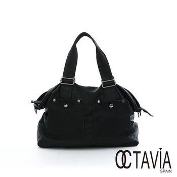 OCTAVIA 8 真皮 - 裝一個世界 大口袋水洗皮旅行公事二用包 - 無感黑