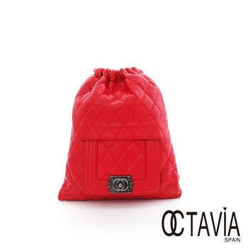 OCTAVIA 8  - 就是時尚 菱格紋皮感束口後背包 -  菱紅