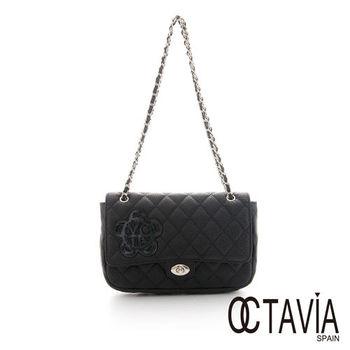 Octavia 8 真皮 - JUST FLOWER 牛皮菱格鍊條小香包 -  鑽石黑
