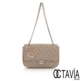 Octavia 8 真皮 - JUST FLOWER 牛皮菱格鍊條小香包 -  雪岩灰