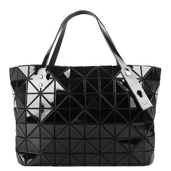 ISSEY MIYAKE 三宅一生BAOBAO幾何方格7x12拉鍊托特包(黑)