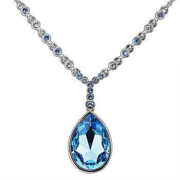 【CDE】施華洛水晶元素藍色水滴(項鍊一條)