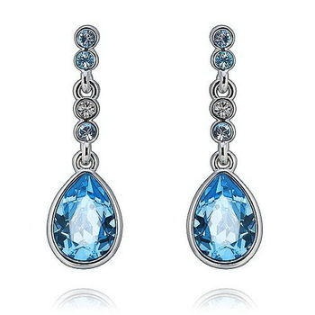 【CDE】施華洛水晶元素藍色水滴(耳環一對)